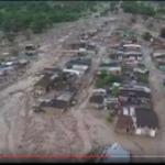 【コロンビア土石流】ドローンで空撮したことにより、被災の規模が把握できます